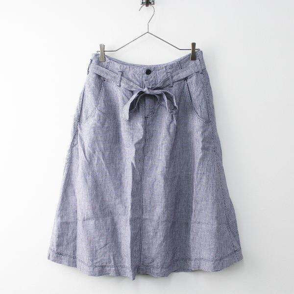 Lisette リゼッタ ボタンフライ 千鳥格子 リネン スカート 38/ネイビー ボトムス【2400011446466】