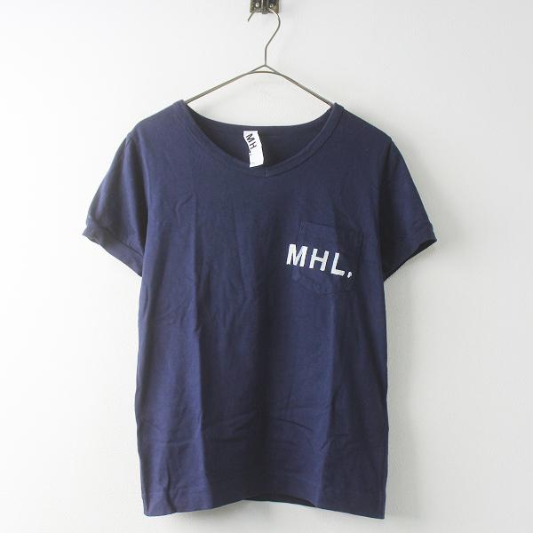 MHL. マーガレットハウエル ロゴ ポケット Tシャツ 2/ネイビー トップス 半袖 シンプル【2400011446947】