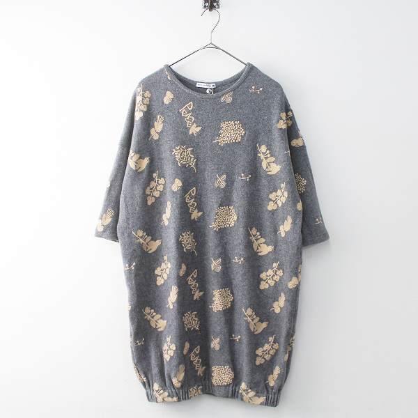 定価4.2万 mina perhonen ミナ ペルホネン forest Parade 刺繍 ウール ワンピース 38/グレー フォレストパレード【2400011447319】