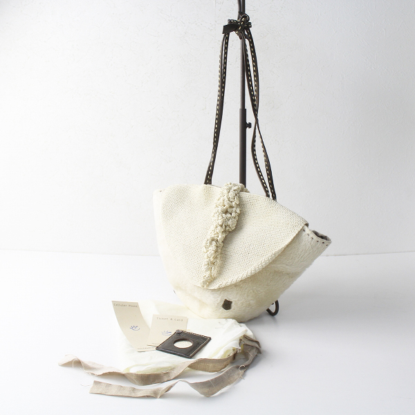 ebagos エバゴス ファー ショルダー バッグ/オフホワイト×ブラウン ステッチ 肩掛け bag カバン 小物 アクセサリー【2400011447357】