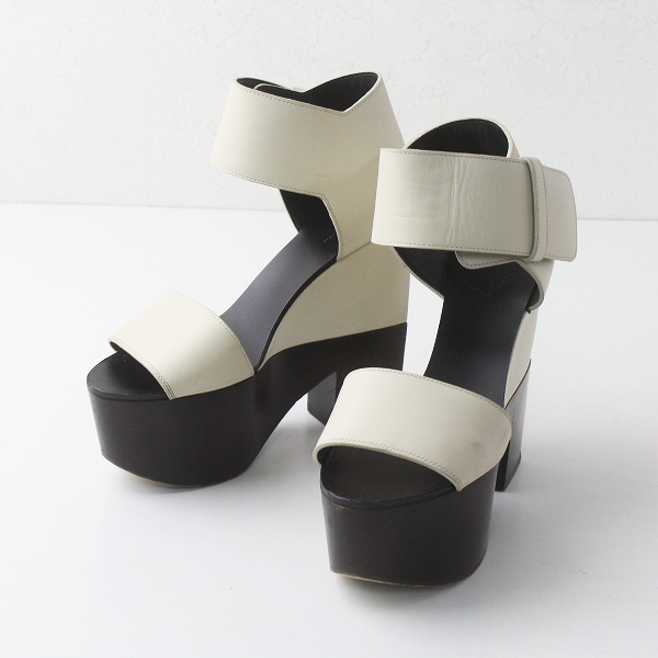 CELINE セリーヌ プラットフォーム ベルト サンダル 36 1/2/ベージュ シューズ 靴【2400011447425】
