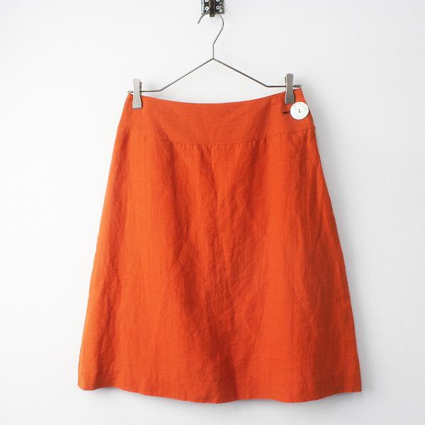 Sally Scott サリースコット シェルボタン リネン 台形 スカート 64-91/ボトムス オレンジ ひざ丈【2400011447449】