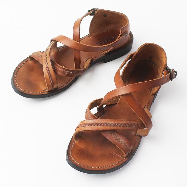 EMOZIONI エモジオーニ クロスストラップ レザー サンダル 36/ブラウン シューズ 靴【2400011448002】