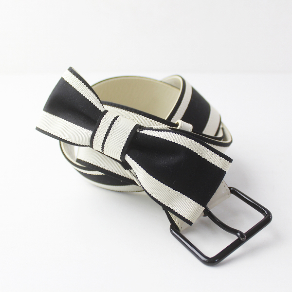 TO BE CHIC トゥービーシック リボン ベルト/ ホワイト× ブラック 服飾小物 アクセント カジュアル【2400011452320】