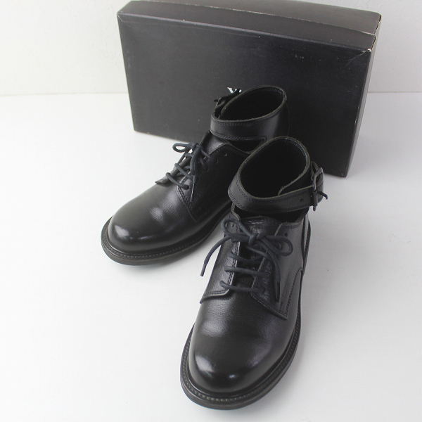 Y's Yohji Yamamoto ワイズ ヨウジヤマモト アンクル ベルト レースアップ レザー シューズ L/ ブラック 黒 革 くつ 靴【2400011452344】