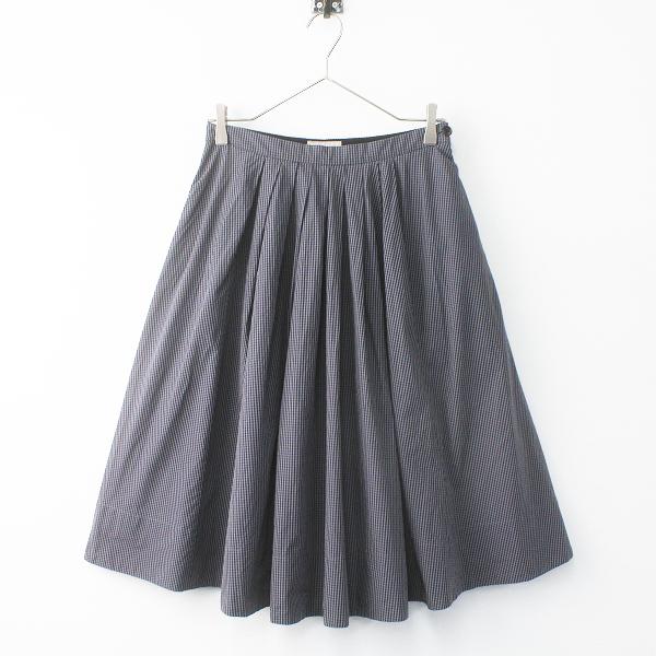 MARGARET HOWELL マーガレットハウエル ギンガムチェック タック スカート 1/グレー ボトムス【2400011454621】