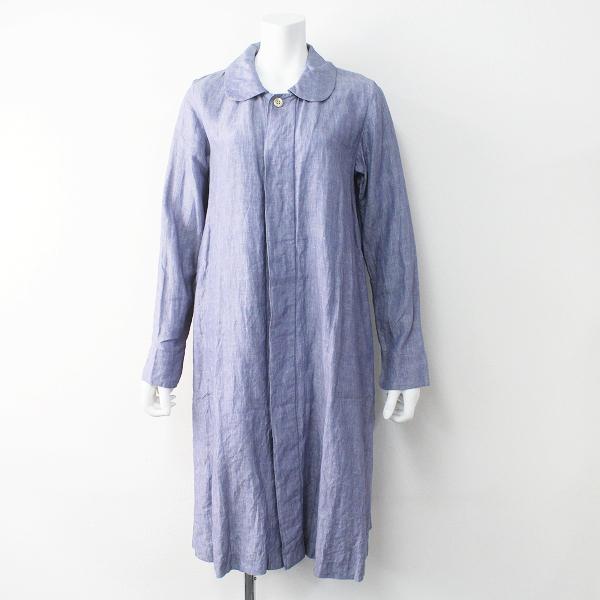 45R umii908 フォーティファイブ ウミ ラウンドカラー リネン ロング コート 2/ブルー 羽織り 丸襟【2400011458162】