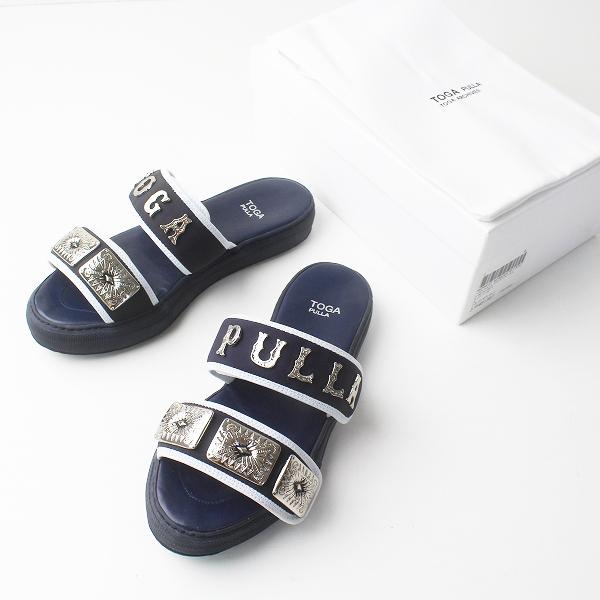 TOGA PULLA トーガプルラ メタル ロゴ サンダル 39/ダークネイビー シューズ 靴【2400011458537】