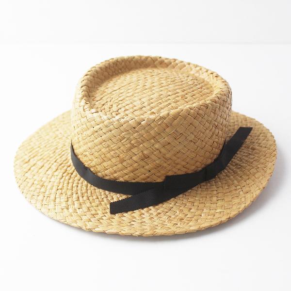 SM2 サマンサモスモス ラフィア ポークパイハット F/ナチュラル ブラック 帽子【2400011459701】