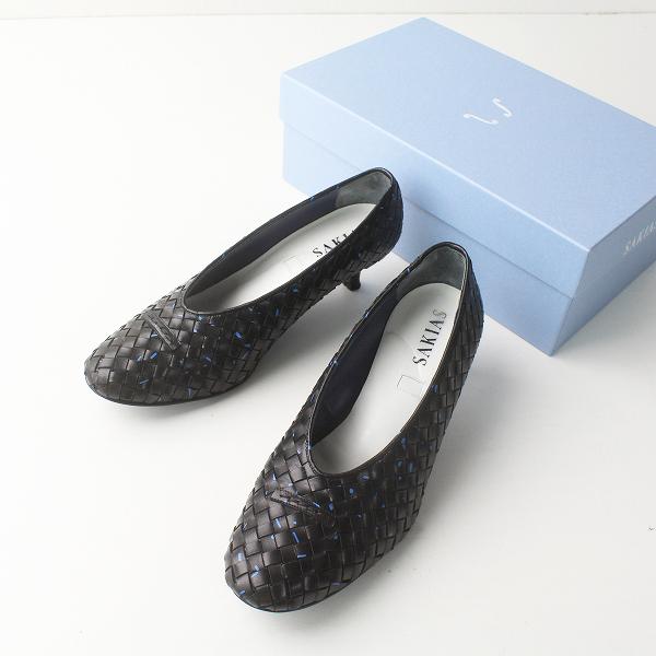定価6.4万 SAKIAS サキアス 2019SS 5-ME 5ステッチ レザー メッシュ パンプス 36.5/ブラック 黒 靴 シューズ【2400011460004】