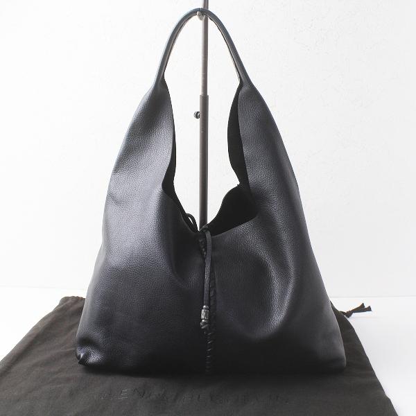極美品 HENRY BEGUELIN エンリーベグリン オミノ刺繍 レザー ワンハンドル ハンドバッグ/クロ かばん 鞄 BAG【2400011460196】