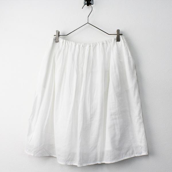 bulle de savon ビュルデサボン コットン リネン フレア ギャザー スカート F/ホワイト ボトムス ウエストゴム+紐【2400011462336】
