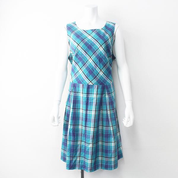 大きいサイズ Rose Tiara ローズティアラ チェック ノースリーブ ワンピース 46/ブルー系 ドレス【2400011463753】