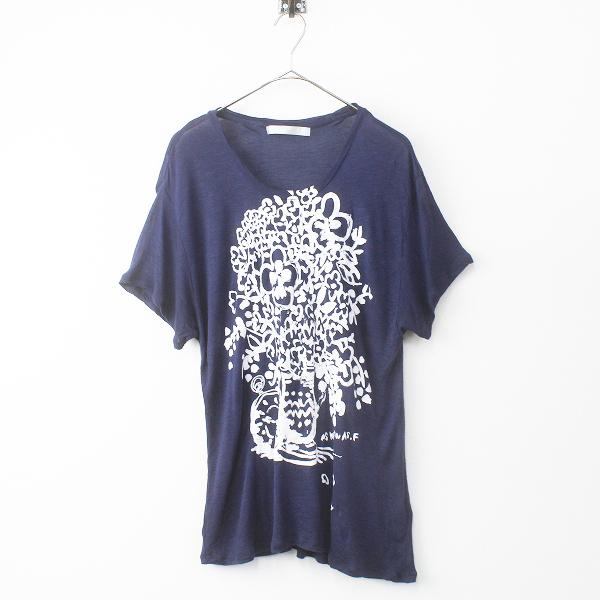 大きいサイズ AS KNOW AS olaca アズノゥアズ オオラカ フラワー プリント Tシャツ 15/ネイビー トップス【2400011464941】