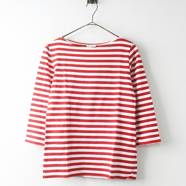 marimekko マリメッコ ボーダー ボートネック 7分袖 Tシャツ S/レッド×ホワイト カットソー プルオーバー【2400011465603】