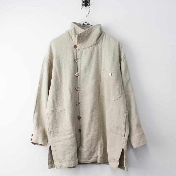 USAATO うさと 手織り 天然色 ヘンプ ジャケット/ベージュ アウター 上着 長袖【2400011465726】