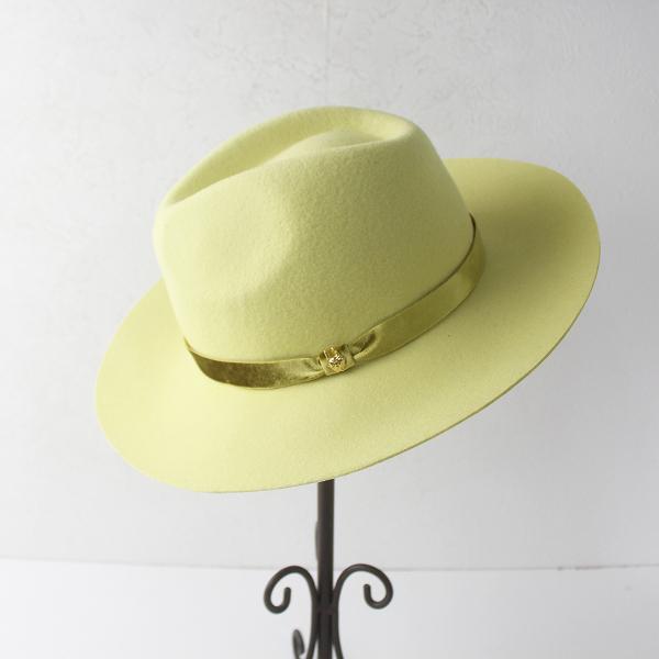 franche lippee フランシュリッペ 中折れ ツバ広 帽子 メルトン ハット ベロア リボン/イエロー アクセサリー 小物【2400011465795】