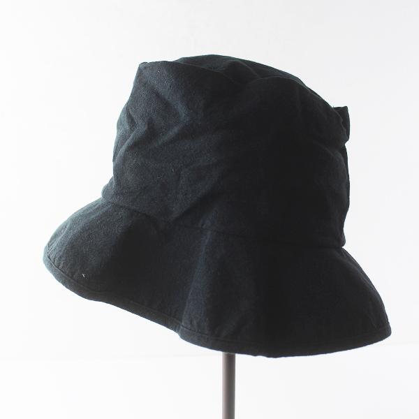 美品 prit プリット リネン コットン ハット ONE SIZE/帽子 ブラック 小物 ぼうし【2400011466167】