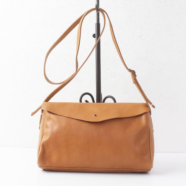 Encachette アンキャシェット レザー ポーチ ショルダー バッグ/キャメル ポシェット フラップ カバン bag【2400011466556】