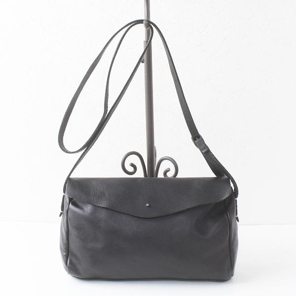 Encachette アンキャシェット レザー ポーチ ショルダー バッグ/ブラック ポシェット フラップ カバン bag【2400011466563】