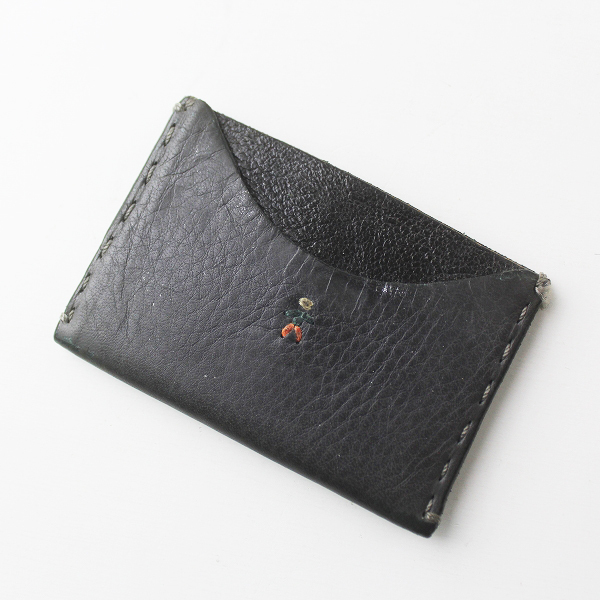 HENRY BEGUELIN エンリーベグリン オミノ 刺繍 レザー カードケース/ブラック 名刺入れ ウォレット 小物【2400011467249】