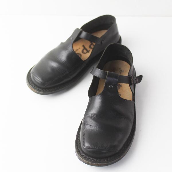 trippen トリッペン Walker レザー Tストラップ シューズ 約24.5cm/ブラック 靴 くつ フラット【2400011468864】
