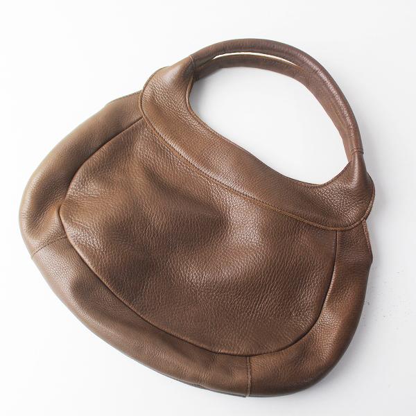 Kanmi. カンミ レザー ラウンドフォルム ハンドバッグ/ブラウン 茶色 小物 鞄 BAG【2400011469458】