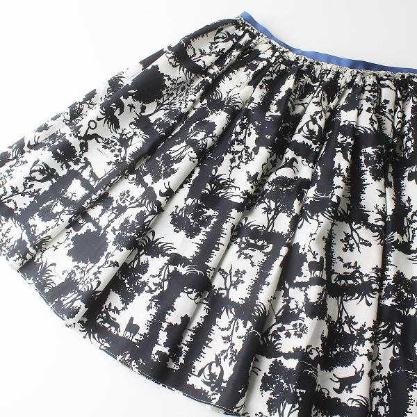 美品 Lois CRAYON ロイスクレヨン モノクロ シルエット フレア スカート M/ブラック ボトムス【2400011469960】