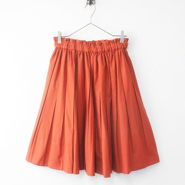 美品 Lois CRAYON ロイスクレヨン ウエスト タック プリーツ フレア スカート M/オレンジ ボトムス フレア【2400011470492】