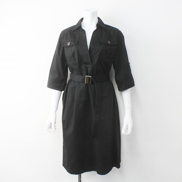Lois CRAYON ロイスクレヨン 胸ポケット付き ミリタリー スキッパー ワンピース M/ブラック ドレス フレア【2400011470508】