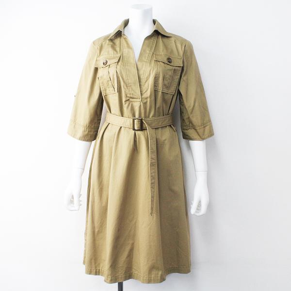 Lois CRAYON ロイスクレヨン 胸ポケット付き ミリタリー スキッパー ワンピース M/ベージュ ドレス フレア【2400011470515】