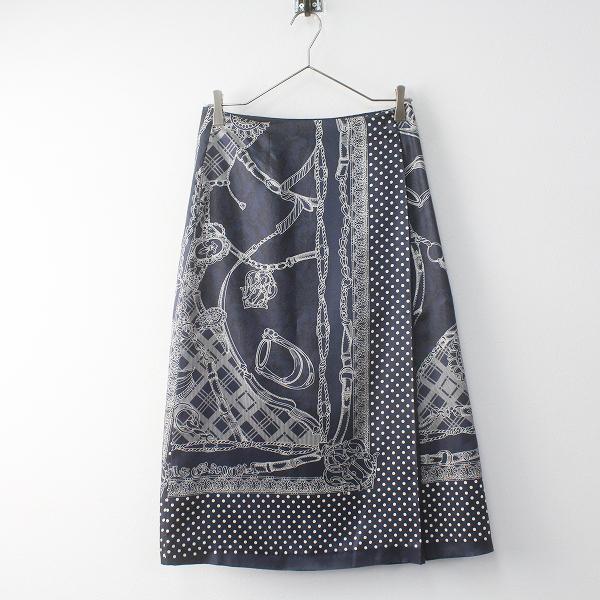 Lois CRAYON ロイスクレヨン ドット チェーン プリント ラップ スカート M/ネイビー ボトムス フレア【2400011470577】