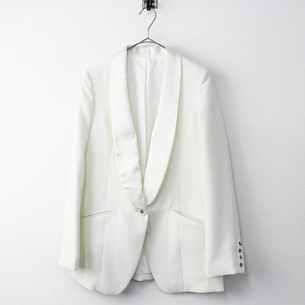 Lois CRAYON ロイスクレヨン ショールカラー ロング タキシード ジャケット M/ホワイト アウター 上着【2400011470591】