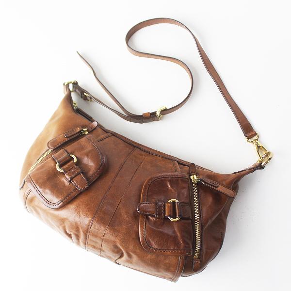 SAZABY サザビー レザー ショルダーバッグ/ブラウン カバン BAG 鞄 小物【2400011470836】
