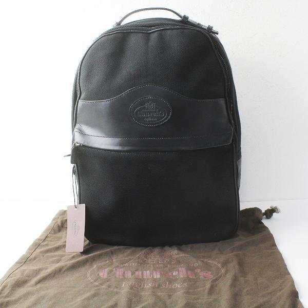 Church's チャーチ レザー × キャンバス リュックサック/ブラック カバン BAG 鞄 小物【2400011471000】
