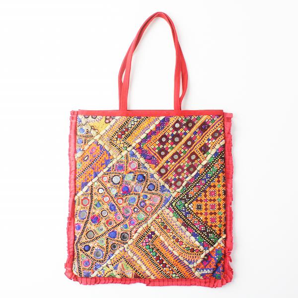 ROUGE a levres ルージュアレーブル 刺繍 キャンバス トートバッグ/レッド 鞄 BAG かばん 小物【2400011471055】