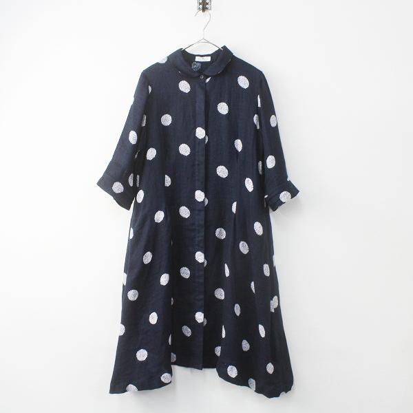 Sensounico Lucruca センソユニコ ルクルカ ドットプリント リネン シャツ ワンピース 40/ネイビー ドレス【2400011471161】