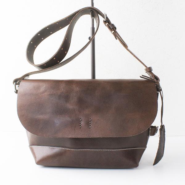 H 1203 MANO FECE マノフェス レザー ショルダーバッグ/鞄 BAG ブラウン かばん【2400011471666】