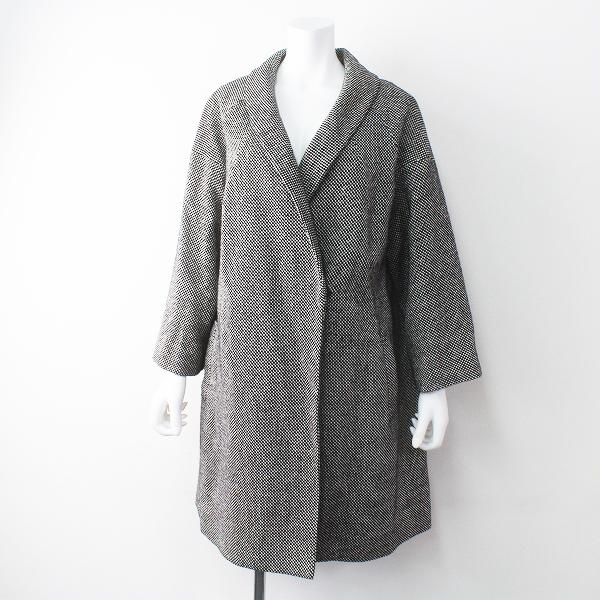 定価8.8万 petite robe noire プティローブノアー ジョセフ ショールカラー コート/ブラック×ホワイト アウター 上着【2400011472205】