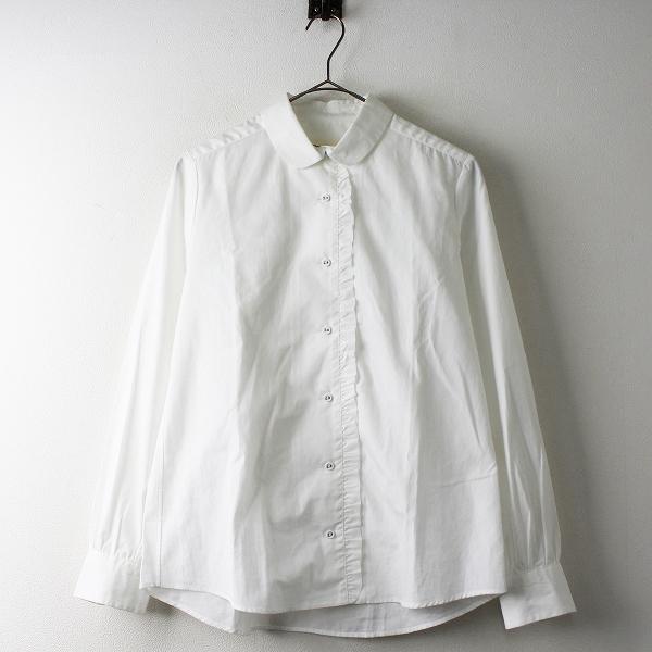 Manna マンナ フロント フリル 丸襟 コットン シャツ M/ホワイト トップス 長袖 ブラウス【2400011473202】