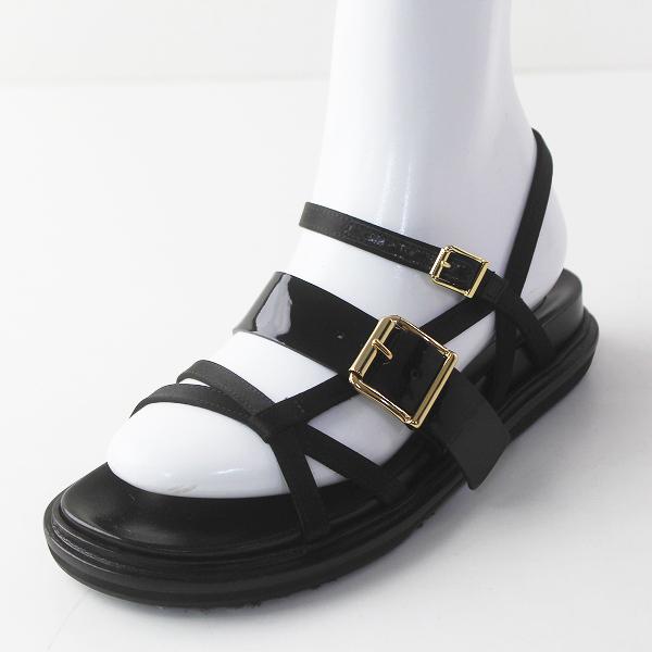 極美品 定価8.7万 MARNI マルニ Fussbett エナメル ストラップ サンダル 36/クロ ブラック 靴 シューズ【2400011473455】