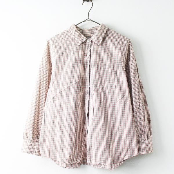 MARGARET HOWELL マーガレットハウエル コットン チェック 長袖 シャツ 3/レッド×カーキ 羽織り ブラウス【2400011475664】