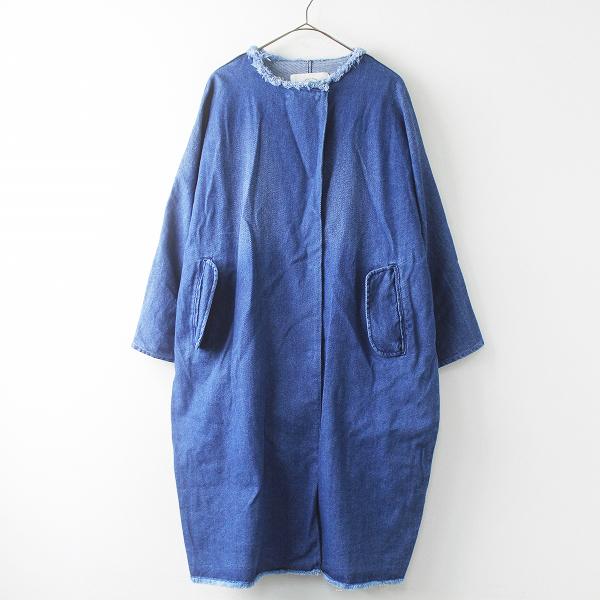 pual ce cin ピュアルセシン ノーカラー デニム ロング コート/ブルー インディゴ染め アウター 上着 羽織り【2400011475862】