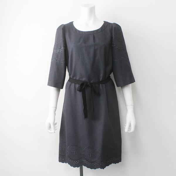 新品 大きいサイズ Aylesbury アリスバーリー カットワークフラワー スカラップ Aライン ワンピース 11/グレー ドレス【2400011476548】
