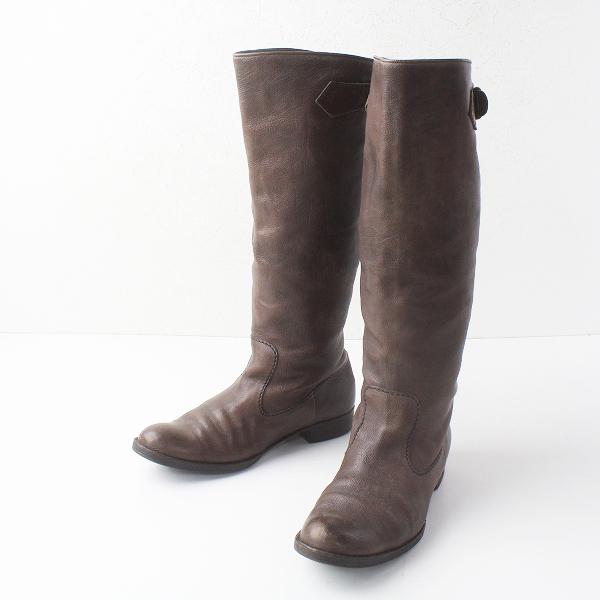 HENRY BEGUELIN エンリーベグリン ベルト 付き レザー ブーツ 37/ブラウン シューズ 靴 オミノ刺繍【2400011478870】