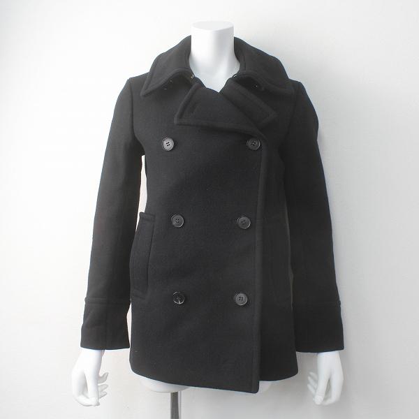 定価8.6万 Drawer ドゥロワー ウール メルトン Pコート 38/ブラック アウター 上着 長袖【2400011478979】
