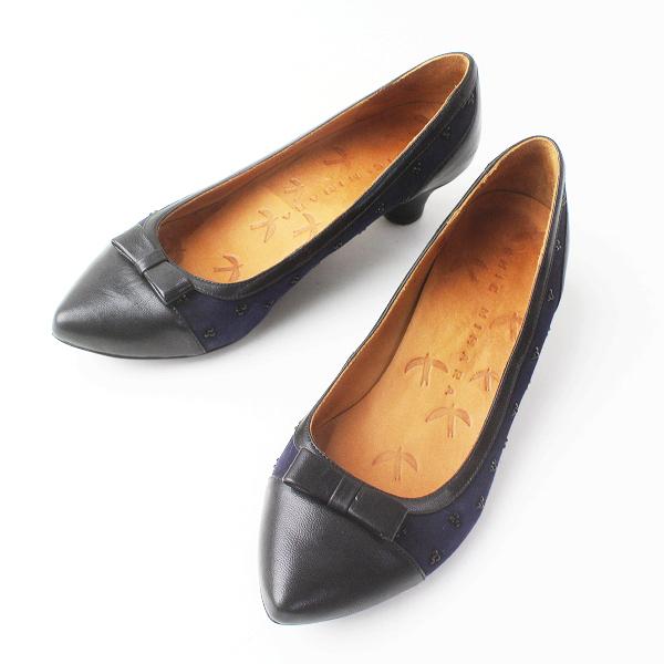 CHIE MIHARA チエミハラ レザー × スエード パンプス 36/ネイビー ブラック シューズ 靴【2400011479013】