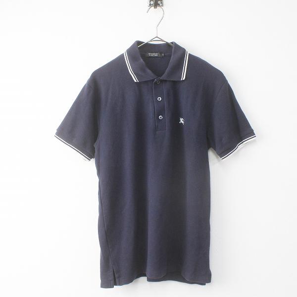 メンズ BURBERRY BLACK LABEL バーバリーブラックレーベル 胸元刺繍 カノコ ポロシャツ 2///コン ネイビー トップス MENS【2400011479129】