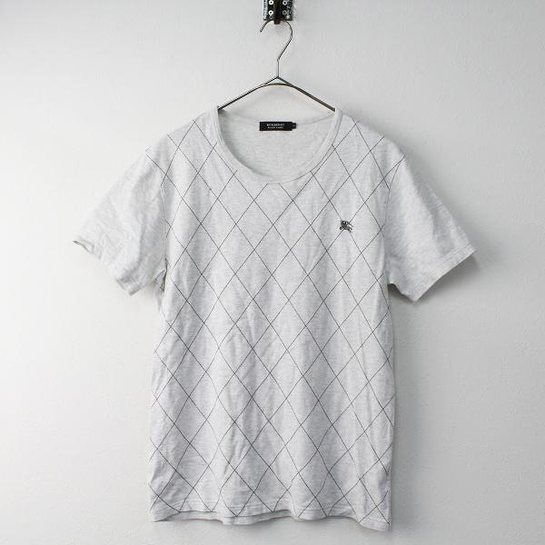 メンズ BURBERRY BLACK LABEL バーバリーブラックレーベル アーガイルステッチ Tシャツ 2///グレー トップス MENS【2400011479143】