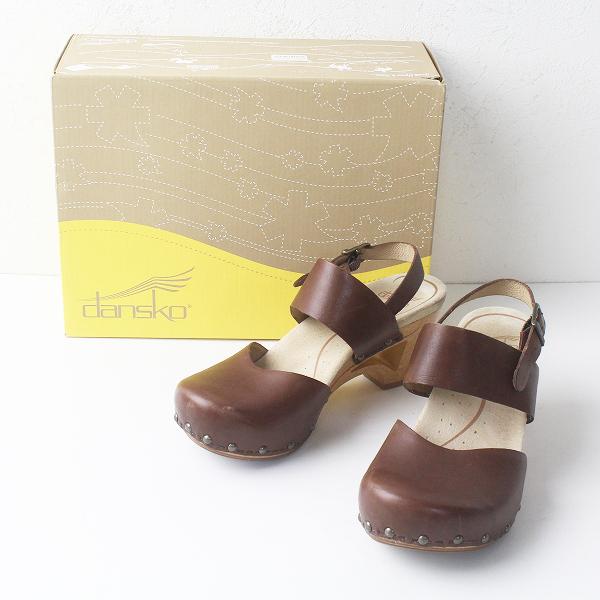 Dansko ダンスコ Thea Veg Tan レザー ストラップ ウッド ソール サンダル 36/ブラウン シューズ 靴【2400011479211】